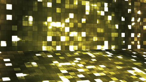 Broadcast Firey Light Hi-Tech Squares Stage, Yellow, Abstract, Loopable, 4K Animation