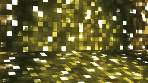 Broadcast Firey Light Hi-Tech Squares Stage, Yellow,… Stock Video Footage