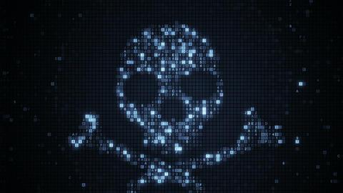 Grey skull symbol of digital HEX code seamless loop animation Animation