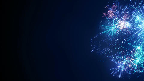 Blue fireworks on edge abstract holiday background seamless loop Animation