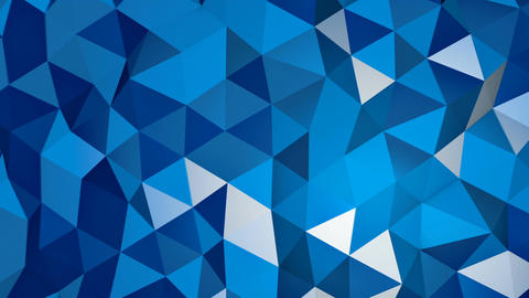 Blue triangular polygonal 3D surface chaotic moving loopable Animation