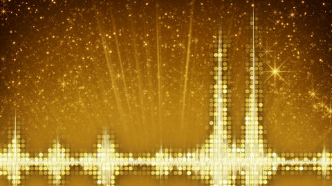 Yellow audio waveform equalizer and particles loop animation Animation