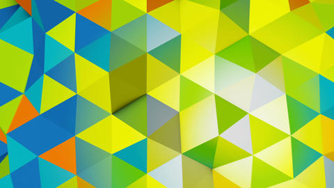 Vivid colors polygonal chaotic shape loopable 3D animation, Stock Animation