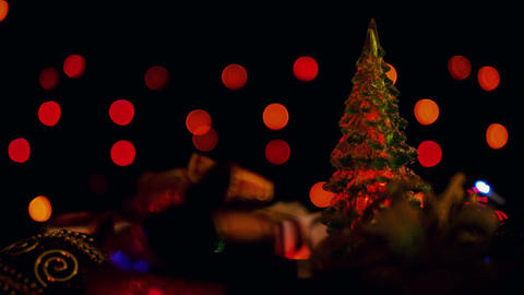Christmas decoration and blinking lights Christmas tree... Stock Video Footage