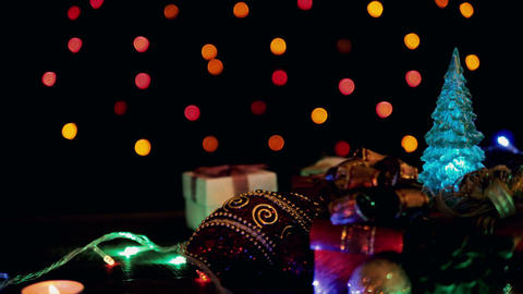 Christmas decoration with bokeh blinking lights Image