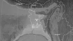 Zoom-in on Bangladesh outlined. Grayscale Animation