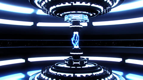 3D Blue Sci-Fi Tech Device with Lightnings Intro Logo Background Animation