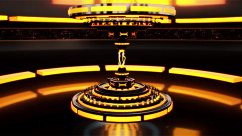 3D Gold Orange Sci-Fi Tech Device with Lightnings Intro Logo Background Animation