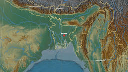 Zoom-in on Bangladesh outlined. Relief Animation