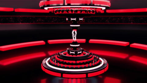 3D Red Sci-Fi Tech Device with Lightnings Intro Logo Background Animation