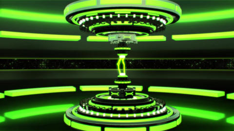 3D Green Sci-Fi Tech Device with Lightnings Intro Logo Background Animación