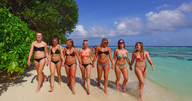 v12801 walking and sunbathing group of young beautiful girls on white sand beach ビデオ