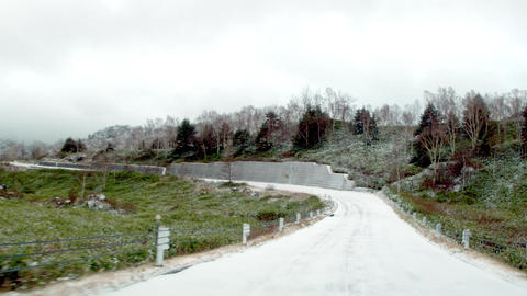 Video driving winter snow road. Route 292 in Shiga plateau around Mt Yokote Image