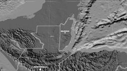 Zoom-in on Belize extruded. Grayscale contrasted Animation