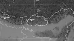 Zoom-in on Bhutan extruded. Grayscale Animation