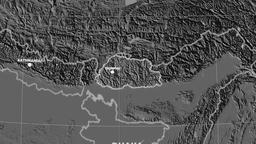 Zoom-in on Bhutan outlined. Grayscale contrasted Animation