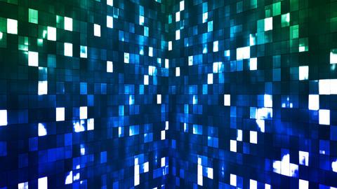 Broadcast Firey Light Hi-Tech Squares Walls, Green Blue, Abstract, Loopable, 4K Animación