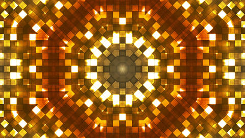 Broadcast Firey Light Hi-Tech Squares Kaleidoscope, Orange Golden, Abstract Animation