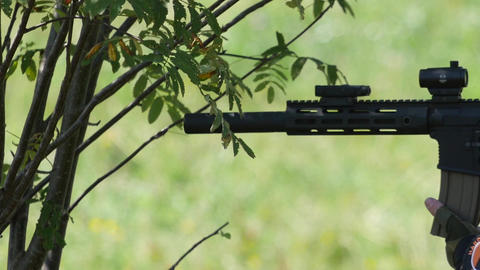 Military gun to shoot eye salve successive thickets that are hiding 47 Footage