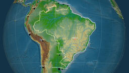 Zoom-in on Brazil outlined. Physical Animation