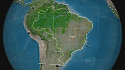 Zoom-in on Brazil outlined. Satellite Animation