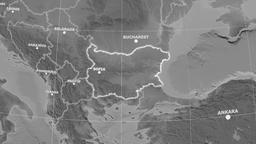 Zoom-in on Bulgaria outlined. Grayscale Animation