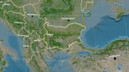 Zoom-in on Bulgaria outlined. Satellite Animation