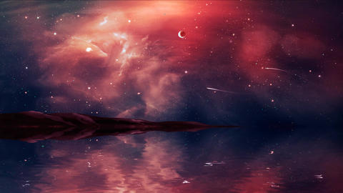 Sci-fi landscape digital painting with nebula, magician, planet, mountain and Animation