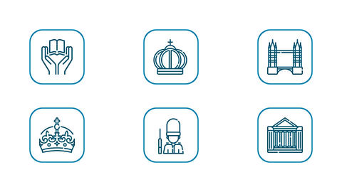Royalty England UK London Travel Icon Set After Effects Template