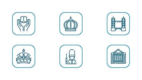 Royalty England UK London Travel Icon Set After Effectsテンプレート