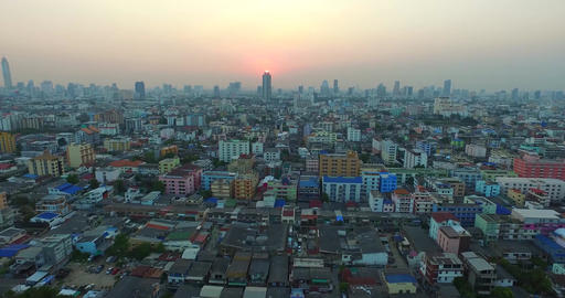 Cinema intro Aerial Sunset cityscape Bangkok Thailad Animación