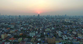Cinema intro Aerial big city Sunset cityscape Bangkok Thailad Animación