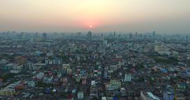[alt video] Cinema intro Aerial big city Sunset cityscape Bangkok...