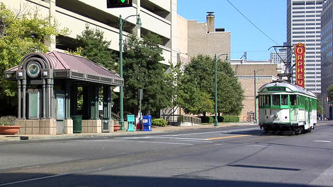 Main Street Trolley, Linden Station, Downtown Memphis, Tennessee Footage