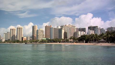 Hotel Row of Waikiki Beach, Honolulu, Hawaii Live Action