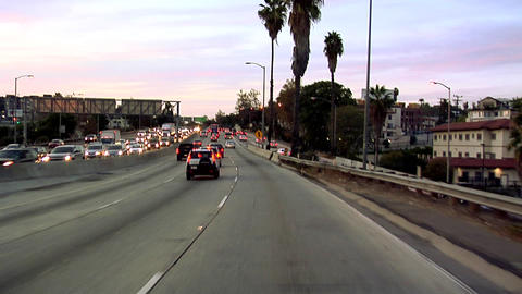 POV on Hollywood Freeway 101 early Evening in Los Angeles Live Action