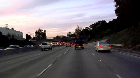 POV On Hollywood Freeway 101 Early Evening In Los Angeles stock footage