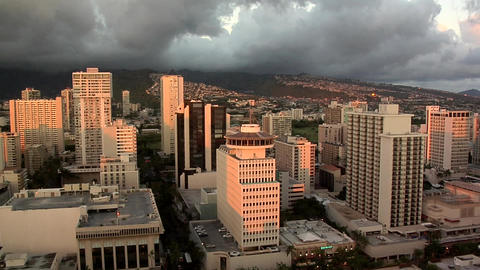 Birds Eye View late Afternoon of Down Town, Honolulu, Hawaii Live Action