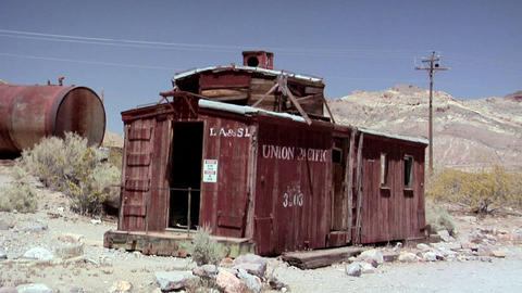 The Ghost Town of the deserted Goldmine Town of Rhyolite Stock Video Footage