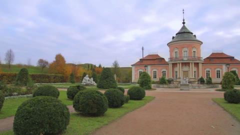 Zolochiv Castle. Statue In Zolochiv stock footage