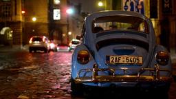 night vintage car - night urban street with cars - car headlights - night city Footage