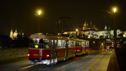 night city - night urban street - Prague castle with bridge - cars and trams - w Footage