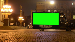 advertising car - green screen - night urban street - lamps (lights) Footage