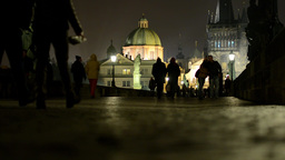 night city (buildings) - night charles bridge with people walking - lights Footage