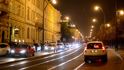 night city - night urban street with cars - lamps(lights) - car headlight Footage