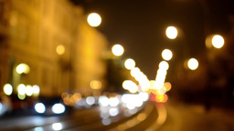 night city - night street with cars - lamps - car headlight - building - timelap Footage