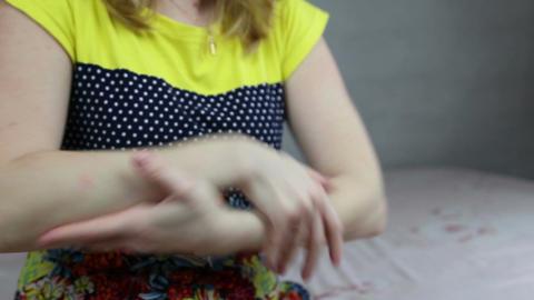 Woman uses hand cream Footage