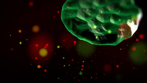 Infection of blood cells by virus, close up Animation