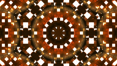 Broadcast Firey Light Hi-Tech Squares Kaleidoscope, Brown Golden, Abstract, Animación