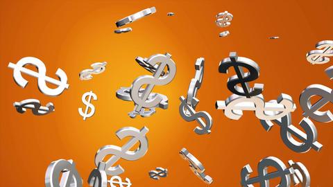 Broadcast Money Shower, Orange Golden, Corporate, Loopable, 4K Animation